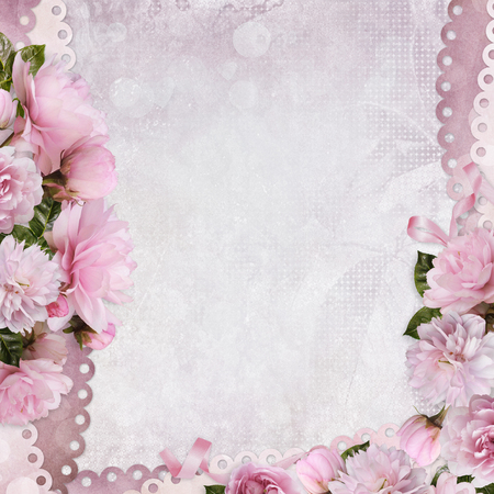 Beautiful borders of pink roses on a gentle romantic vintage background