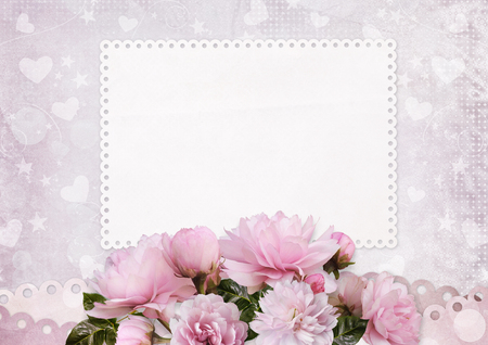Greeting card with space for text and pink roses Imagens