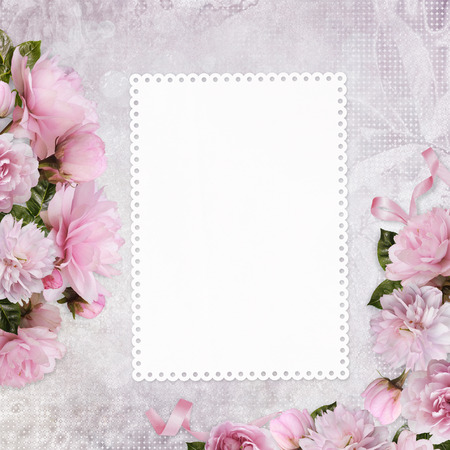 Congratulatory background with a card with space for text or photos and border pink roses