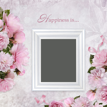Beautiful borders of pink roses and frame on a romantic vintage background