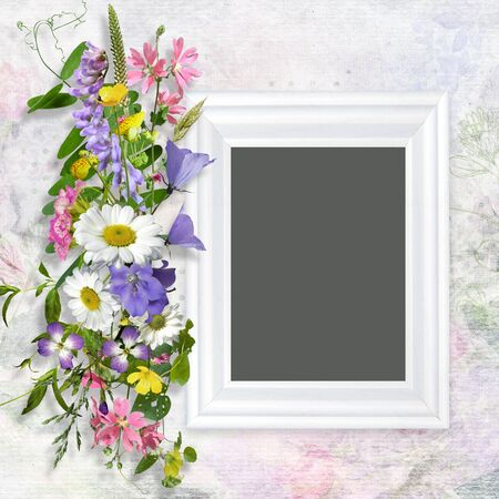 mammy: Vintage background with frame and a bouquet of summer meadow flower