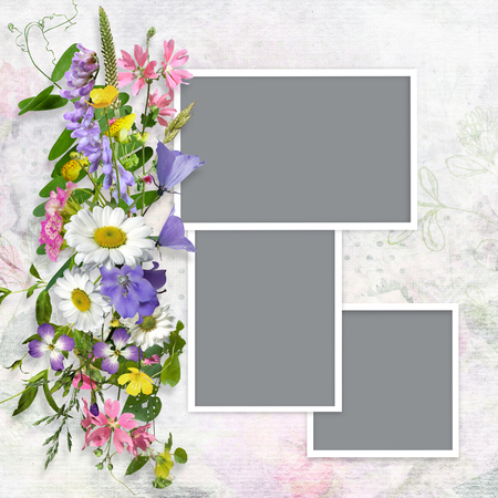 photo album: Vintage background with frames and a bouquet of summer meadow flower