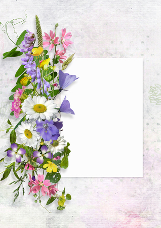 Greeting card with space for text and flowers Imagens