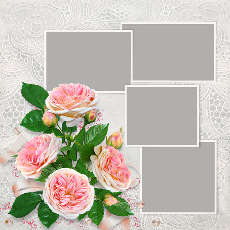 Frames for family photos on a beautiful lace background and a bouquet of pink roses