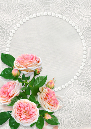 Greeting card with a pearl frame with space for text or photo, pink roses on a vintage lace background