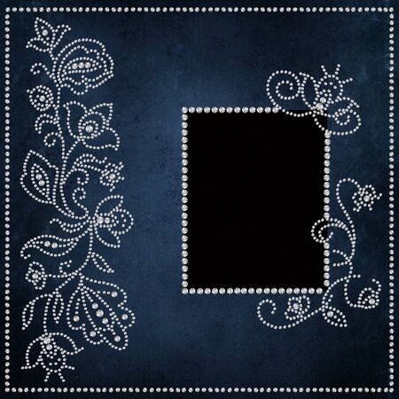 mammy: Vintage background with patterns and curls of rhinestones and a frame for a photo