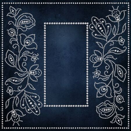 curlicues: Beautiful vintage background with flower patterns and frame for your text or photo of crystals Stock Photo