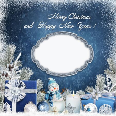 happy family: Christmas greeting background with a frame, gifts, a snowman, a candle, balls and pine branches