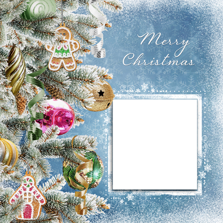 Christmas background with card for text or photo, pine branches, cookies, balls and snow Stock Photo