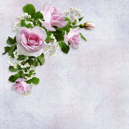 Congratulatory background with a beautiful bouquet of pink roses on a vintage background