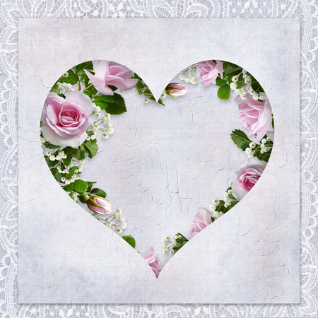 Vintage love background with frame in the form of heart, beautiful roses and place for text Imagens