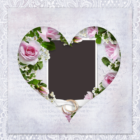 Vintage love background with frame in the shape of heart, roses, wedding rings