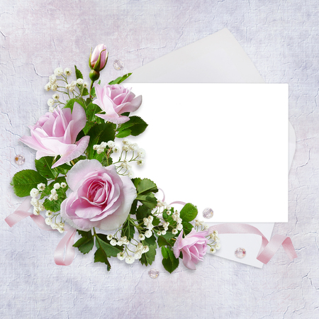 Pink roses with card for text, envelope and ribbon on vintage background
