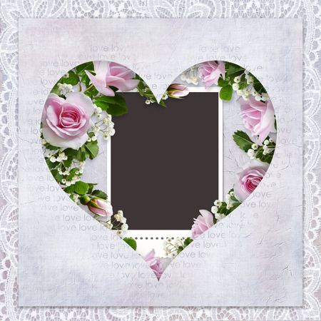 Romantic background with lace, frame in the shape of heart, pink roses and frame for photo