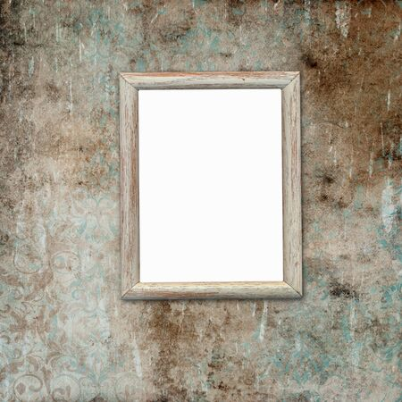 Old wooden frame with space for photo or text on vintage shabby background