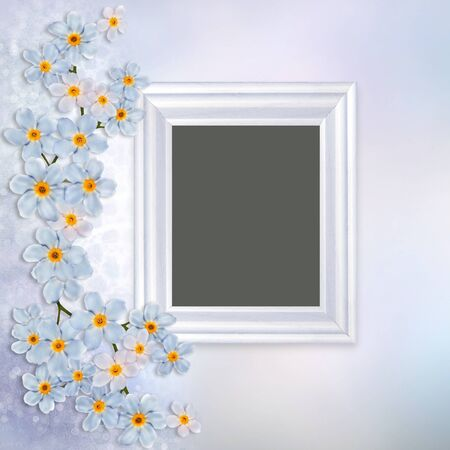 Beautiful vintage background with photo frame and forget-me-not border