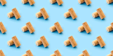 wine corks, seamless pattern with pastel blue background.  Minimalist natural luxury. Top view, flat lay.