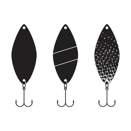 Spinner for fishing set, vector illustration, flat silhouette
