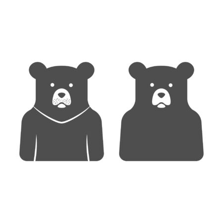 Bear sticker vector illustration, flat character, silhouette