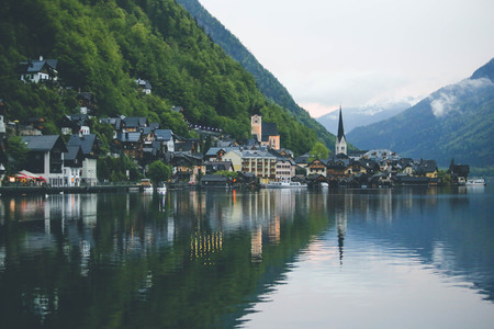 Summer landscape panorama picture of the famous Hallstatt mountain village in the Austrian Alps