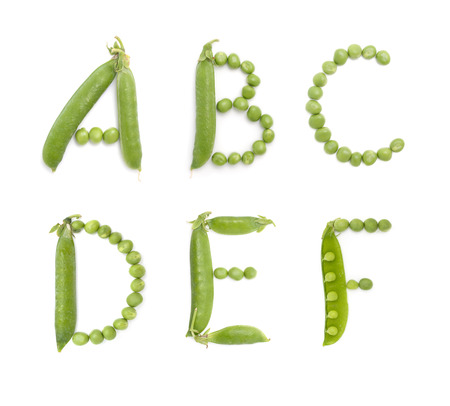 ail: Letters of english alphabet with unique design of the pods of green peas. ABC. Each letter represents a unique and inimitable combination of pods and peas.