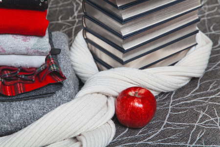 warm things: Composition of reading and relaxation at winter evenings. Stack of winter clothes with red apple and books with silver edge Stock Photo