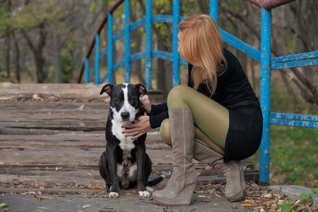 bridge in nature: Slim girl in high boots stroking purebred dog on the pedestrian bridge