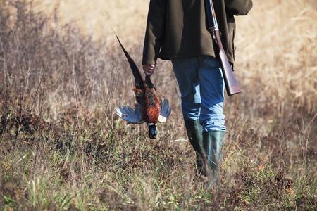 cazador: Trasera de ir cazador con el faisán muerto en la mano del cazador