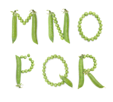Letters of english alphabet with unique design of the pods of green peas. ABC. Each letter represents a unique and inimitable combination of pods and peas.