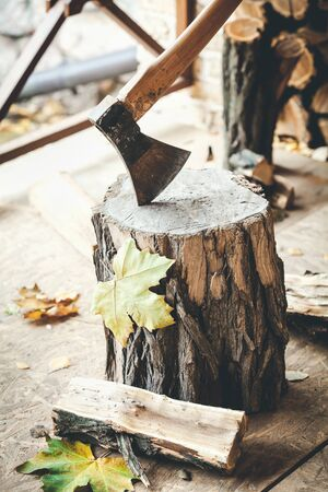 Hatchet sticking in a stump maple leaves and half logs lie close