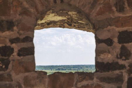 recess: View through recess thick stone ramparts Stock Photo