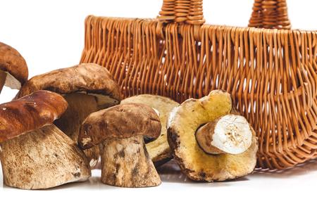Several cut porcini mushrooms before a wicker basket close-up