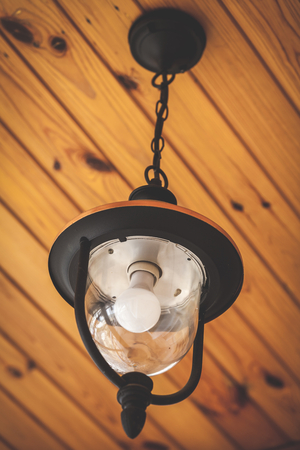 weighs: modern lamp on a decorative chain weighs wooden ceilings
