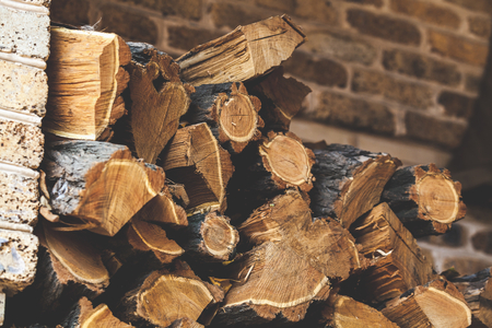 stabbing: Chopped firewood acacia stacked in several rows