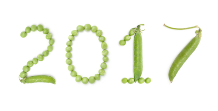 0 1 year: 2017. Set of numbers new year with unique design of the pods of green peas. Each figure represents a unique and inimitable combination of pods and peas. Stock Photo