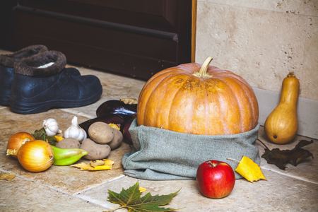 doorstep: Autumn harvest on the doorstep. Big ripe pumpkin bag standing on the porch in front of the entrance door. Beside potatoes, garlic, onion, apple and rubber shoes
