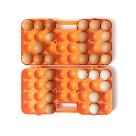 0 1 year: 2017. The figures of the year made up chicken eggs. Eggs are inserted into the orange plastic container cell