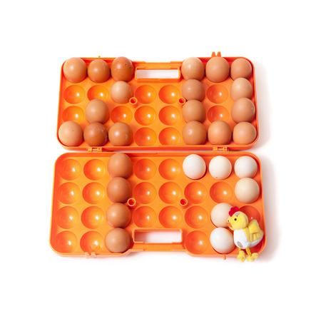 0 1 year: 2017. The figures of the year made up chicken eggs. Eggs are inserted into the orange plastic container of the cell beside to toy yellow chicken
