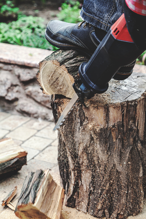 drown: worker sawing a round piece of wood dry acacia reciprocating power saw. The foot in the shoe presses the log to the stump. Close-up