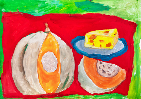 Childrens drawing. Still life with cut ripe pumpkin and blue cheese plate