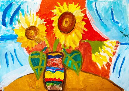 Childrens drawing. Vase with three sunflowers on  background of blue curtains