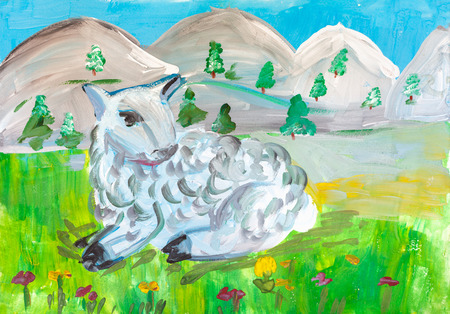 Childrens drawing. Little white lamb lying on green meadow on background of gray mountains