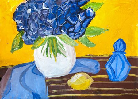 decanter: Childrens drawing. Round vase with bouquet of blue, lemon yellow and carafe