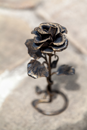 Excellent copy of living rose. Beautiful bronze metal rose with thin petals top view close-up