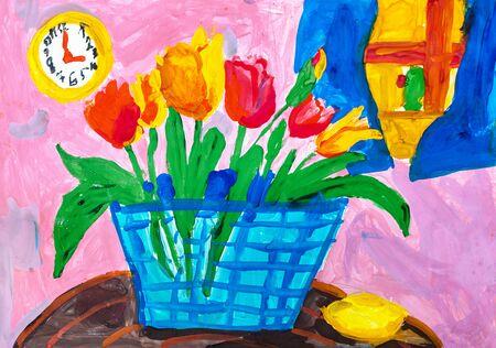 Kinderzeichnung Stillleben mit Korb mit Tulpen, runder Uhr und Zitrone Standard-Bild - 84902346