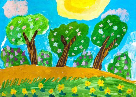 Children's drawing. Three green tree in summer sun