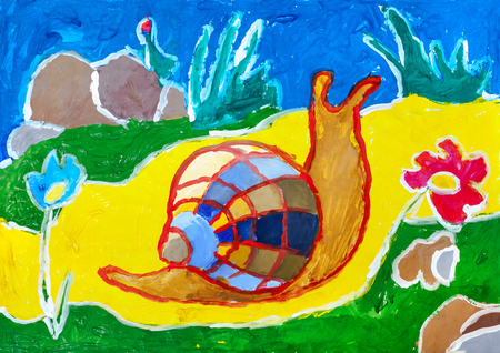 antennae: Childrens drawing. Snail with multicolored shell crawling on yellow carpet