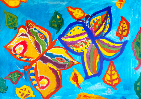 Childrens drawing. Two bright butterflies and some leaves on blue background  Banco de Imagens