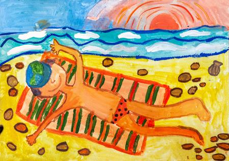 Childrens drawing. The boy is lying on striped towel on sandy seashore  Фото со стока