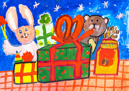 Childrens drawing. Most gift box and a toy rabbit and a bear standing on a checkered tablecloth